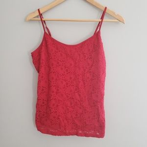(2) red tanks 1 red lacey cami XL 1 solid red L